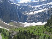The Gavarnie Circus Mountains From Near With Forest In The Foreground And Many Rivers In The Backgro