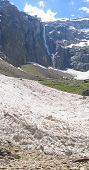 Vertical View Of The White Glaciers Of The Gavarnie Circus Mountains, The Pyrenees, France, Panorama