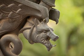 picture of metal sculpture  - Close up detail of animal head of a metal sculpture Barcelona - JPG
