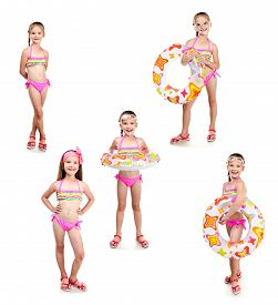 image of little girls photo-models  - Collection of photos cute little girl with swimming ring in sunglasses isolated on a white - JPG