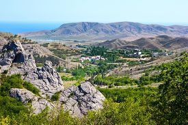 stock photo of crimea  - The pyramids in Crimea southern coast of Crimea near the town of Sudak - JPG