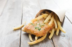 stock photo of fish  - Fish and chips - JPG