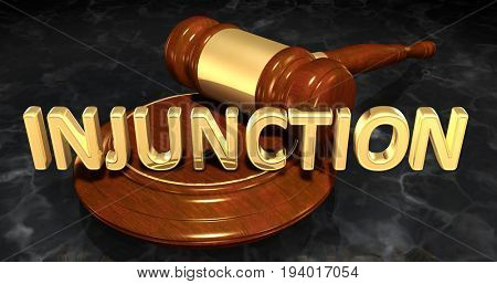 Injunction Law Concept 3D Illustration