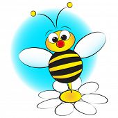 Bee and daisy - Card for kids - Scrapbook and labels useful