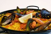 Traditional spanish rice: paella and seafood