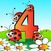 Animals and numbers series for kids, from 0 to 9 - 4 Ladybirds