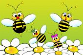 Bee Family:  father, mother and children in a field with flowers. Kids illustration