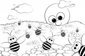 Coloring page for kids - Good morning with flowers, bees and sun