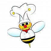 Ilustración de chef de abeja con chaqueta y sombrero
