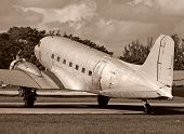 Duotone Photo Of Wartime Airplane