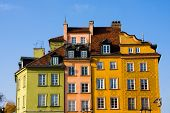 Colorful buildings in Old Town. Warsaw, Poland