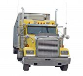 stock photo of freightliner  - Yellow Semi Truck isolated on a white background - JPG