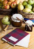 recipe book and apple jam