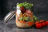 Homemade Salad In Glass Jar With Quinoa And Vegetables. Healthy Food, Diet, Detox, Clean Eating And poster