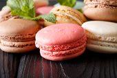 Background Of Colored Macaroons In The Assortment, Macro. Horizontal poster