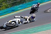 HUNGARORING, HUNGARY - JUNE 19: An unidentified rider crashes at a corner during ROSBK event at Hung