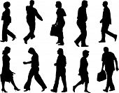 walking and moving people vector silhouette