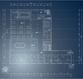 Architectural blueprint of industry building