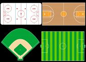 Sport Fields, Icehockey, Basketball, Football, Baseball