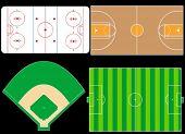 Sport Fields, Icehockey, Basketball, Football, Baseball