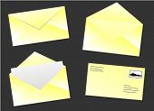 yellow envelop set in different situations