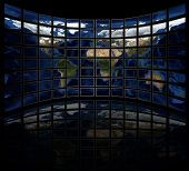 world map on tv screens (black background)