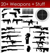 Set of Weapons Silhouettes in Vector art