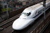 TOKYO - JUNE 12: Shinkansen train at Tokyo JUNE 12, 2010 in Tokyo, Japan. Shinkansen is Japanese bul