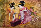 stock photo of batik  - geisha Japan  batik - JPG