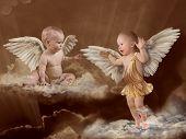 Постер, плакат: Baby Ангел крылья ретро
