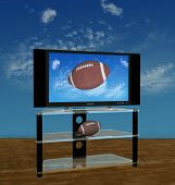 foto of high-def  - Illustration of a bright picture of American Football pass or kick flies in a high Autumn sky on HDTV scene - JPG