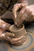 manufacture of ceramic vessel hands of the child and adult