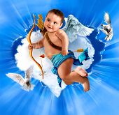Cupid With Bow And Arrow, Flying  angel