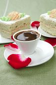 good morning : cake with whipped cream served with black coffee cup poster