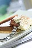 Slice Of Chocolate Gateaux Tart Served With Fresh Whipped Cream