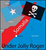 Somalia pirates vector map (Under Jolly Roger)