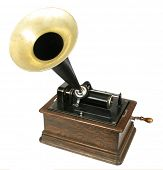 Vintage phonograph isolated on white background