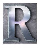 3D rendering an upper case R   letter in metallic typescript print (part of a matching alphabet)