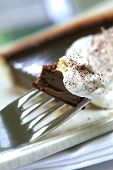Slice Of Chocolate Gateaux Tart With Cream