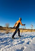 A woman cross-country skier enjoying winter