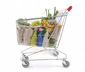 picture of grocery-shopping  - Shopping trolley viewed from side  - JPG