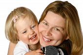 Beautiful Toddler With Mom Isolated