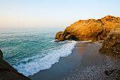 Beach on Mediterranean sea coast in Nerja, Spain