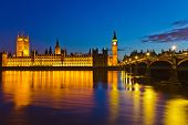 stock photo of london night  - Big Ben and Houses of Parliament in London - JPG