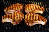picture of pork chop  - Tasty Barbecue Pork chops on a grill - JPG