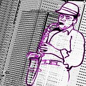 Vector illustration of a saxophonist on a city buildings background