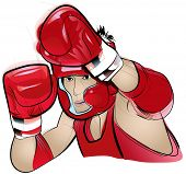 Vector illustration of a Thai Boxing competitor