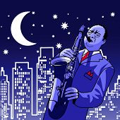 Vector illustration of a saxophonist  at  night