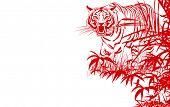 Vector ilustración de una caza del tigre en la selva