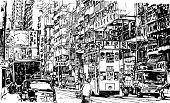 Hand drawing of a street in Hong Kong (vector)